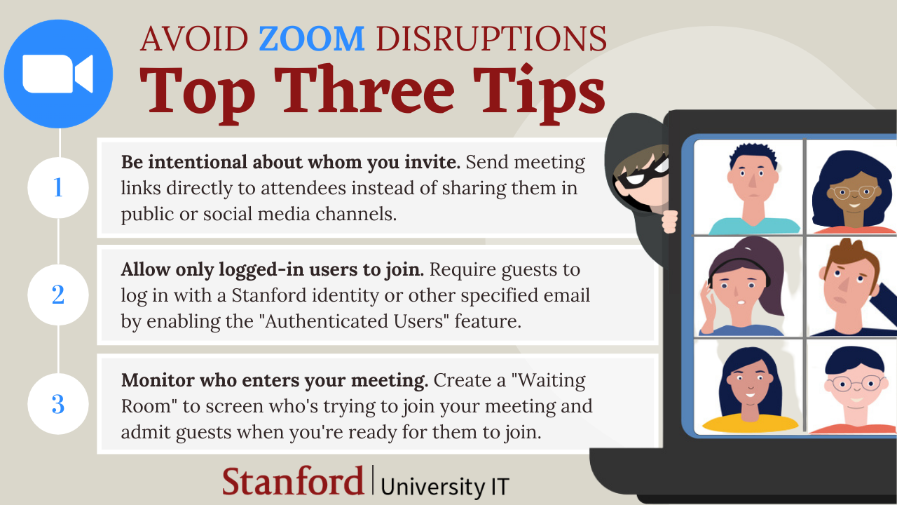 Infographic showing top three tips to avoid Zoom disruptions. Described below.
