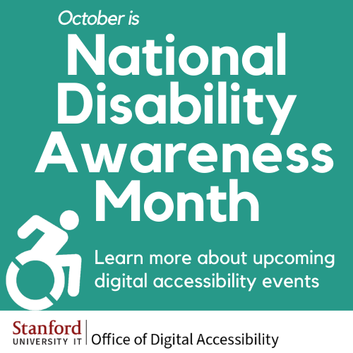 October is National Disability Awareness Month. Learn more about upcoming digital accessibility events