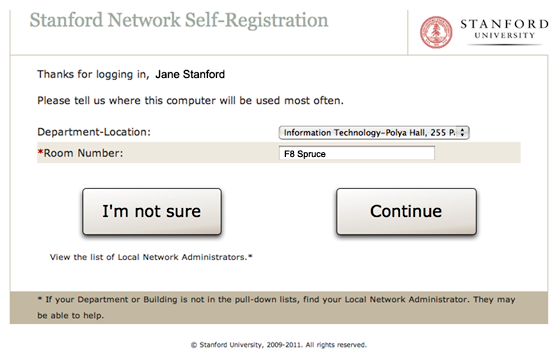 self-registration  choose a location page