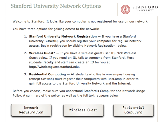 Stanford Network Self-Registration page