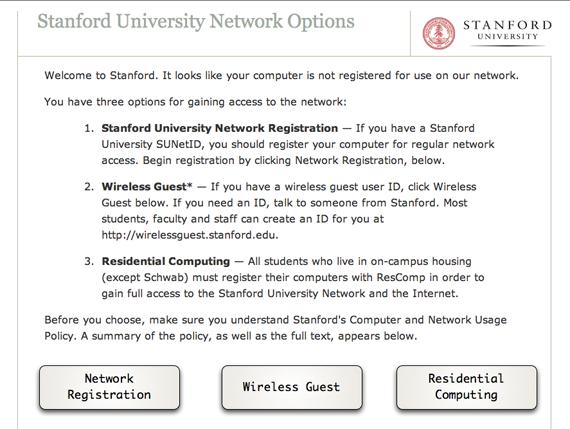 Stanford Network Self-Registration page