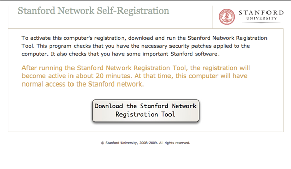 download Stanford network registration tool