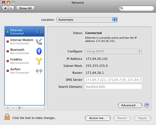 Network information window