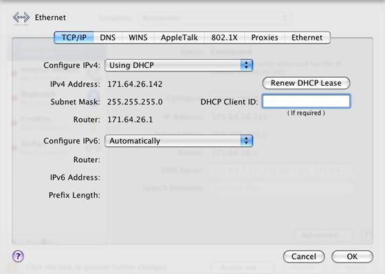 TCP/IP preferences