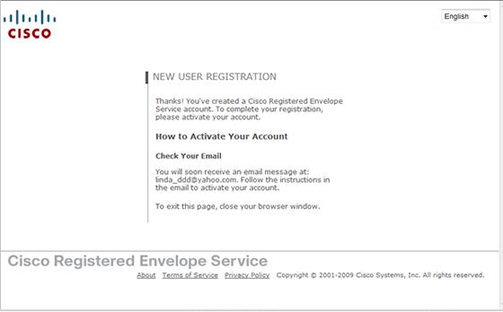 new user registration window