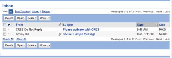 activation message in Inbox