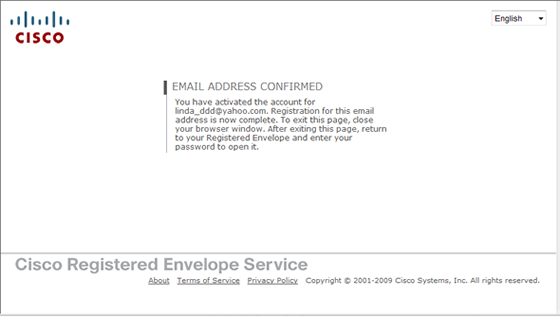 email address confirmed page