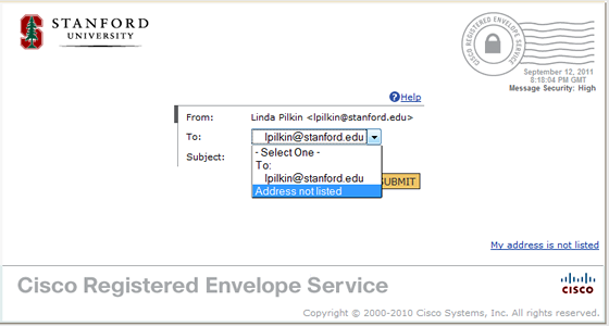 expand To fileld and select Address not listed