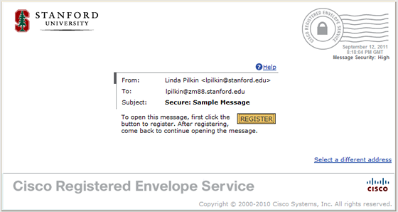 start Cisco Registered Envelope Service registration process