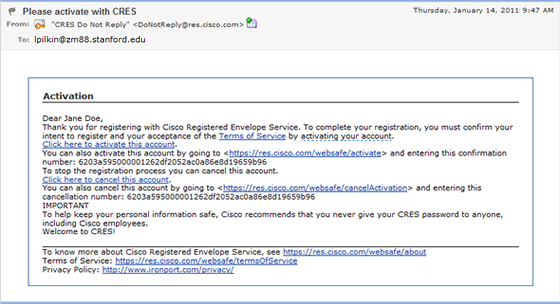 email with link to activate Cisco Registered Envelope Service account