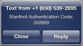 example of authentication code sent via test message