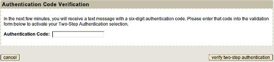 enter authentication code