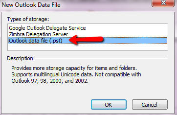 add new Outlook data file