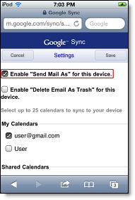 select Enable Send Mail As for this device