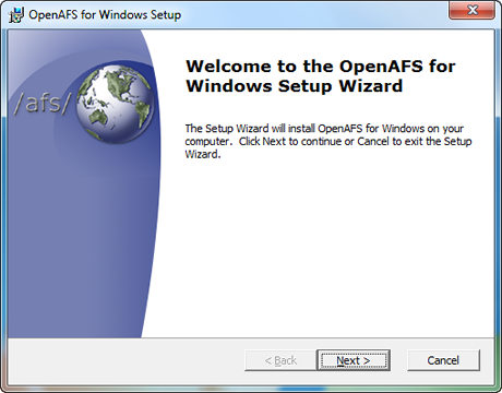 Welcome to OpenAFS Setup Wizard page