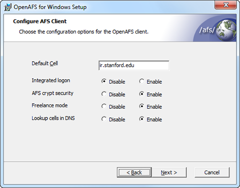 select configuration options