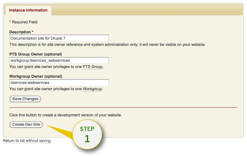Opt-in on Stanford Sites admin page