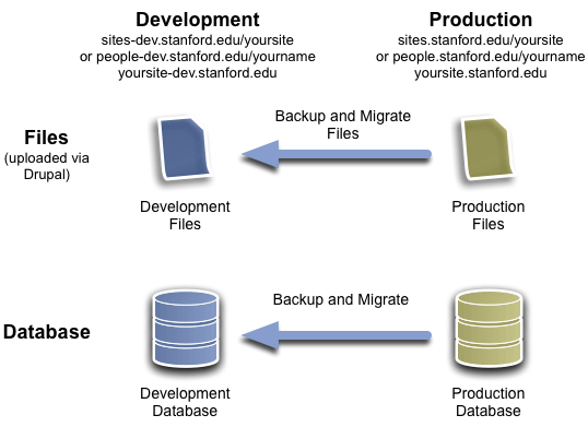 Data flows from production to development environment