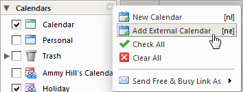 add an external calendar
