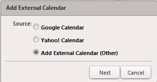 add external calendar dialog box