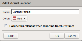 external calendar settings