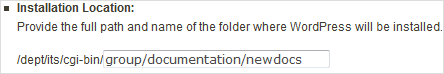 provide the full path and name of folder where WordPress will be installed