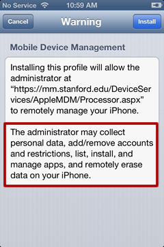 Mobile Device Management (MDM) Additional iOS Privacy Information