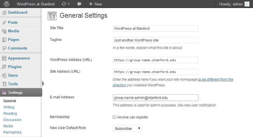WordPress General Settings Screenshot