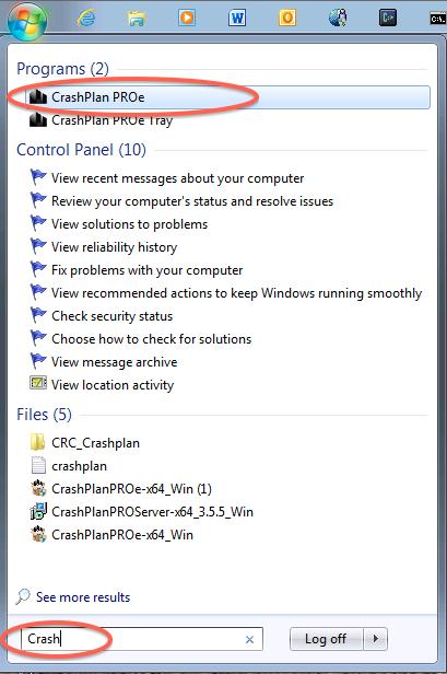 launch CrashPlan PROe in Windows 7