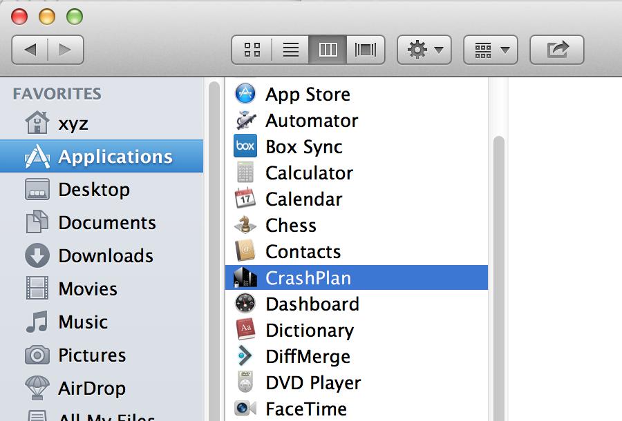 launch CrashPlan PROe in Mac OS X
