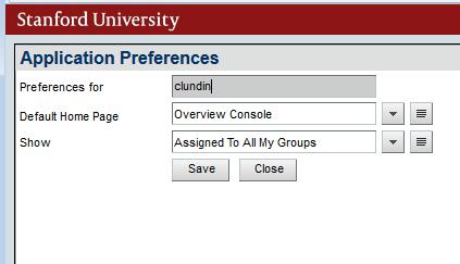 Application Preferences dialog box