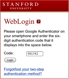 enter two-step authentication code