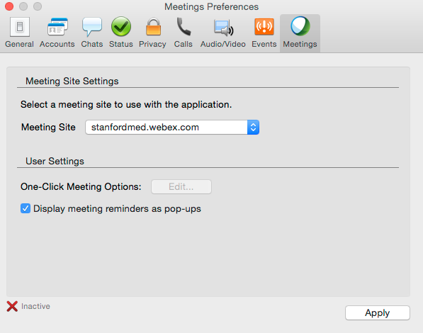 Click on Meetings from the list of preferences.