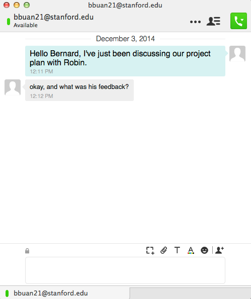 "Sample chat window says ""Hello Bernard, I've just been discussing our project with Robin"""