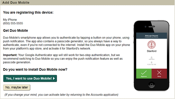 choose whether to install Duo Mobile now