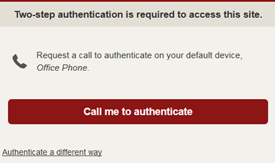 request a call to authenticate