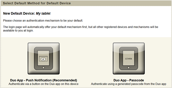 select a default method for authentication