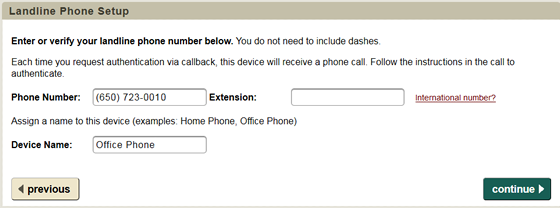 enter phone number and assign a name to this device