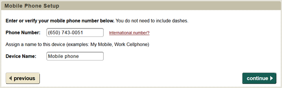 enter a phone number and device name for your mobile phone