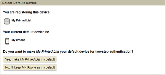 select whether or not to make printed list the default device