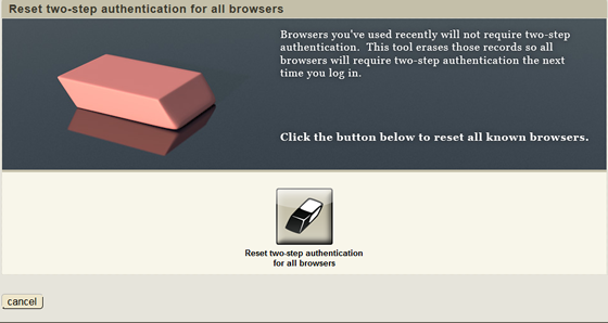 screen where you click button to really reset two-step authentication for all browsers