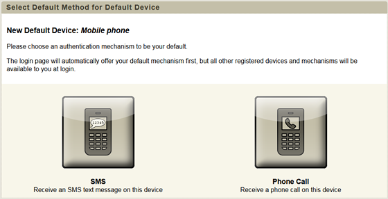 select a default method for your mobile phone