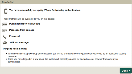 confirmation that you have successfully set up you smartphone for two-step authentication