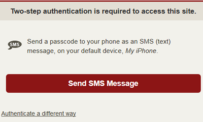 choose to send a passcode as an SMS text message to your device