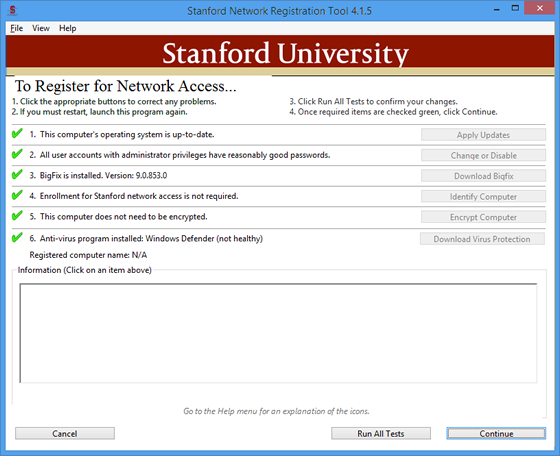 Stanford Network Registration Tool main window
