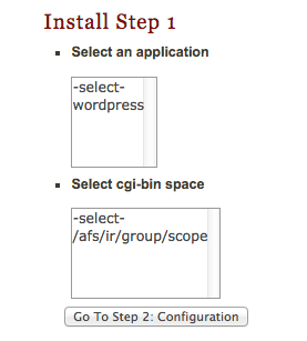 select the WordPress application and the cgi-directory where you will install WordPress