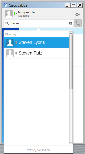 Hover over the desired contact name and click + to connect.