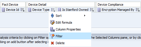 select a column to filter