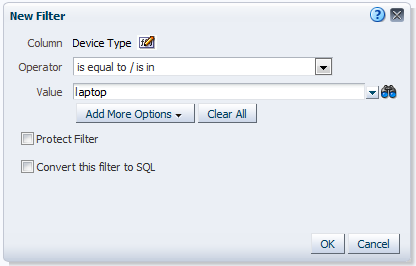 enter filter criteria in New Filter dialog box