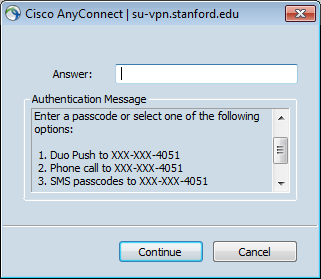 prompt for two-step authentication via menu
